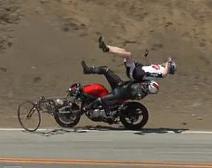 motorcyclist hits bicyclist video