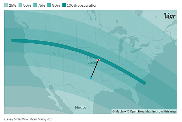 Eclipse Path and obscuration (via VOX)
