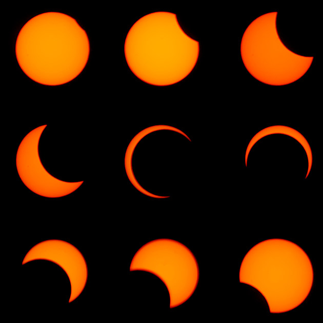 Nine images of a solar eclipse