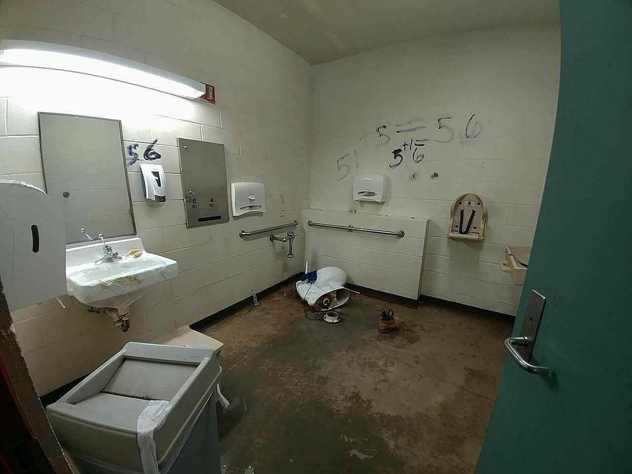 Bathroom damage at J.S. Bridwell AG Center